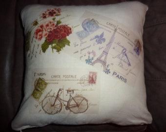 Decorative Paris Pillow Cover - Linen Pillow Cover - Vintage Paris Postcards - Eiffel Tower - bike - red -16x16 - French Country decor