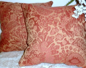 Set of 2 Decorative Pillow Covers, Lawrence Damask - 18x18 - pillows - designer fabric - pillow covers - Accent pillow