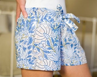 Blue Peonie Bed Shorts