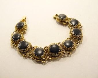 Beautiful Vintage Black Enamel Victorian Revival Bracelet 1