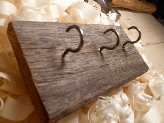 Reclaimed Wood Key Rack, 3-Hooks, Barn Wood, 5'' x 2.5''