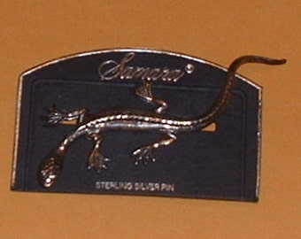 1989 Sterling Silver Chameleon or Salamander Jewelry pin on original card
