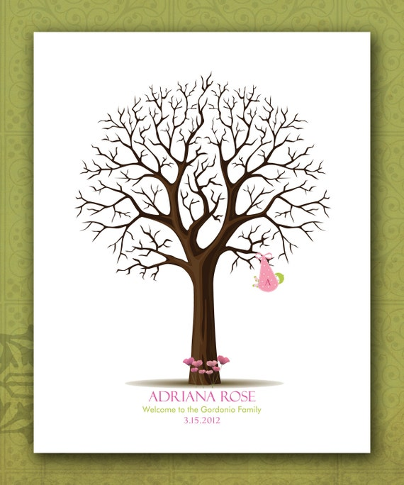 custom baby shower fingerprint tree personalized baby thumbprint tree