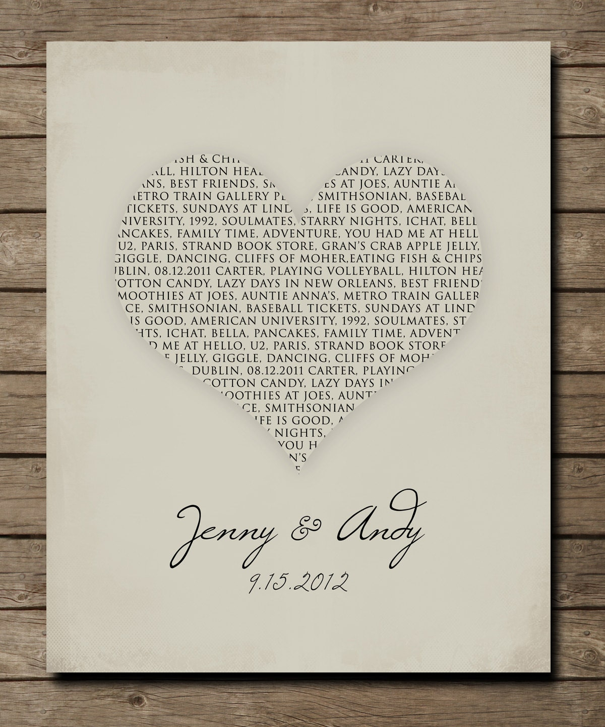 Cash Wedding Gift Calculator Uk : Personalized Wedding Anniversary Gift rustic vintage style