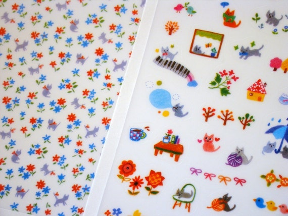 Kawaii Stickers - Cute Cat Scrapbooking Fall Colors Deco 6 Sheets