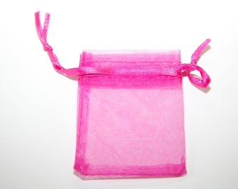 10 pcs Organza Bags / jewelry bags / color magenta (pink) / size: 5,5 x 7,5mm    OS066