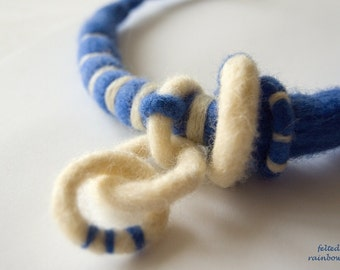 White and Blue, Beach necklace, Fiber art jewlery, Wool pendant, Blue stripes, Felted necklace, Nautical jewelry, Wool rope necklace
