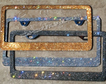 your color bling license plate frame with swarovski crystals