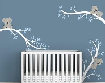 White Tree Wall Decal Baby Nursery Wall Tree Decal Decor - Koala Tree Branches by LittleLion Studio