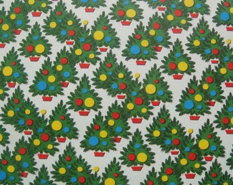 Vintage Gift Wrapping Paper - Mini Mod Christmas Trees - 1 Unused Full Sheet