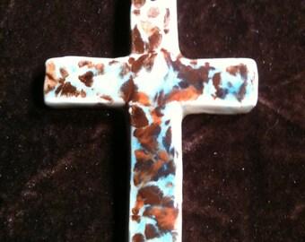 Cross mocha and blue handmade Pottery Ornament