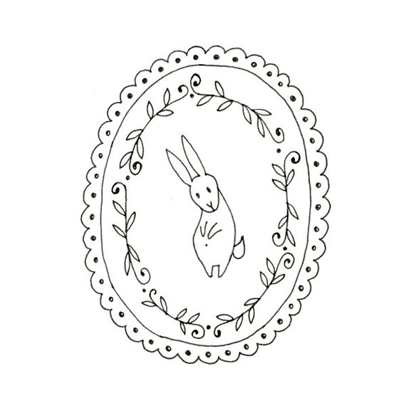 Hand Embroidery Pattern Bunny Rabbit Digital Downloadable Easter Bunny 0002