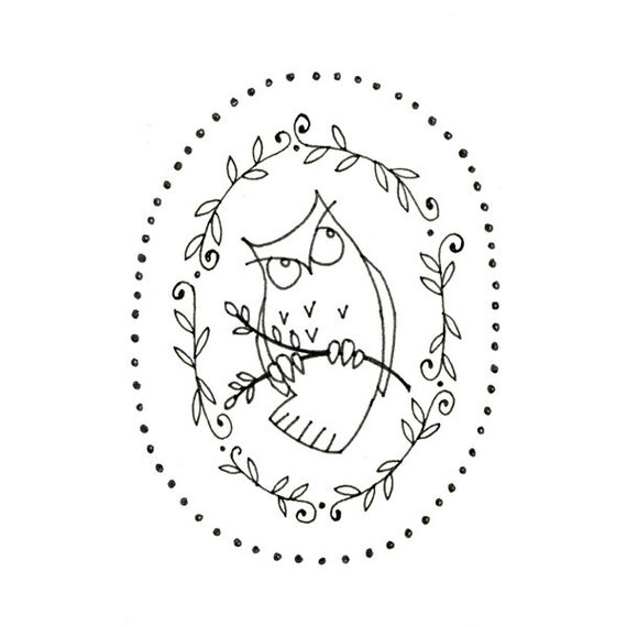 Owl Printable Embroidery Pattern Woodland Critter Digital Downloadable 0068