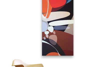 mid century modern eames era danish modern retro 60s 50s 4ft x 18in canvas painting