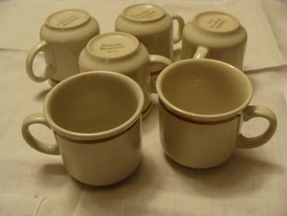 Vintage Genuine Stoneware Japan Coffee Cups Set Of 6