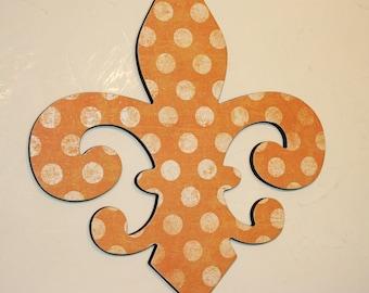 Fleur de lis wall decor , Orange and cream wall decor, Fleur de lis wall art