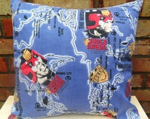 Judge Dredd Vintage Fabric Cushion - Handmade by Alien Couture