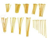 99 Gold Plated Headpins ASSORTED Mix 21 Gauge Lengths 16mm to 40mm Lot