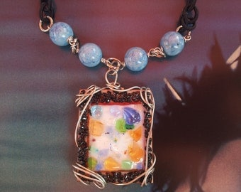 Pendant Rainbow Glass in Copper Enamel and Blue Natural Stones