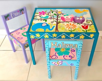 Baby Owls Play Table and 2 Chairs