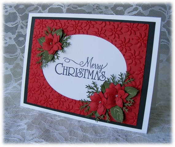 Handmade merry christmas card with stunning red 3d poinsettias for Christmas cards made