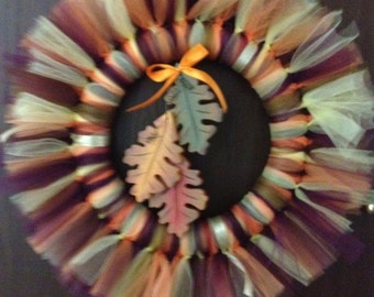 Fall Tulle Wreath with Leaves