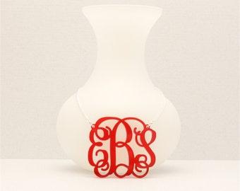 Medium 1.75 Inch Custom Vine Monogram Acrylic Necklace, Personalized Bridesmaid Gift, Personalized Jewelry