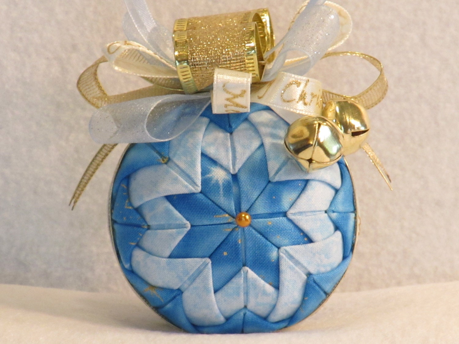 Quilted no sew fabric Christmas ornament ball by KCFabricOrnaments