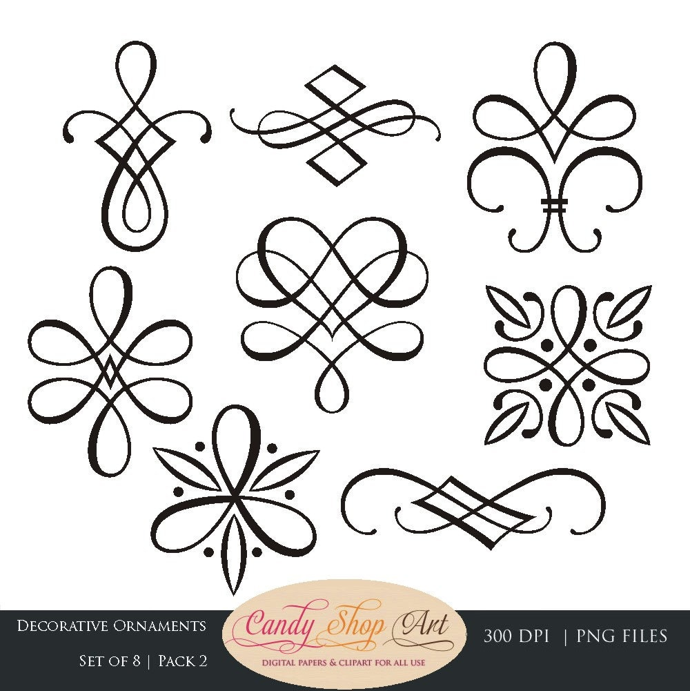 Instant download calligraphy ornaments graphic