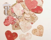 Vintage Blush Rose Pink Paper Heart Confetti - Wedding, Valentine, Romantic, Tea Party (100 count)