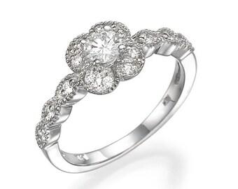 "Unique Diamonds Engagement Ring 0.54 carat H/VS1 White Gold ""Flowering""  14k Natural Diamonds"