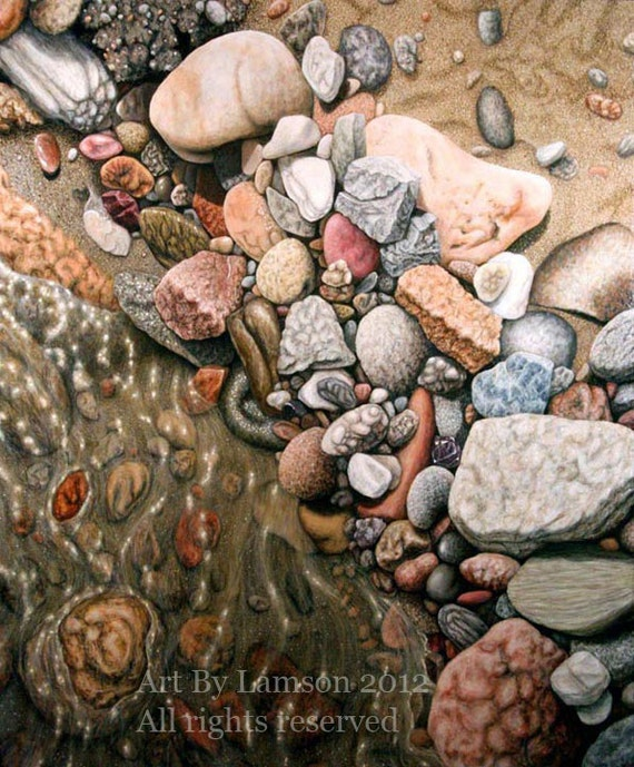 Fine Art Acrylic Painting Of Rocks Water Pebbles Sand And