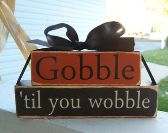 Thanksgiving wood stacker block set-Gobble til you wobble wood stackers-Mini blocks