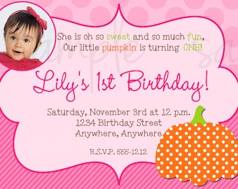Pumpkin Girl Birthday Invitation