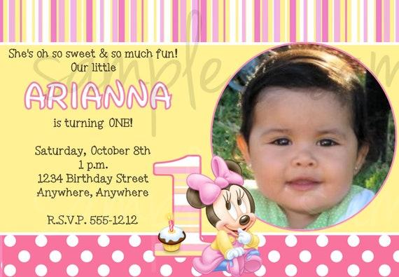 Minnie Mouse 1. Geburtstag Einladung