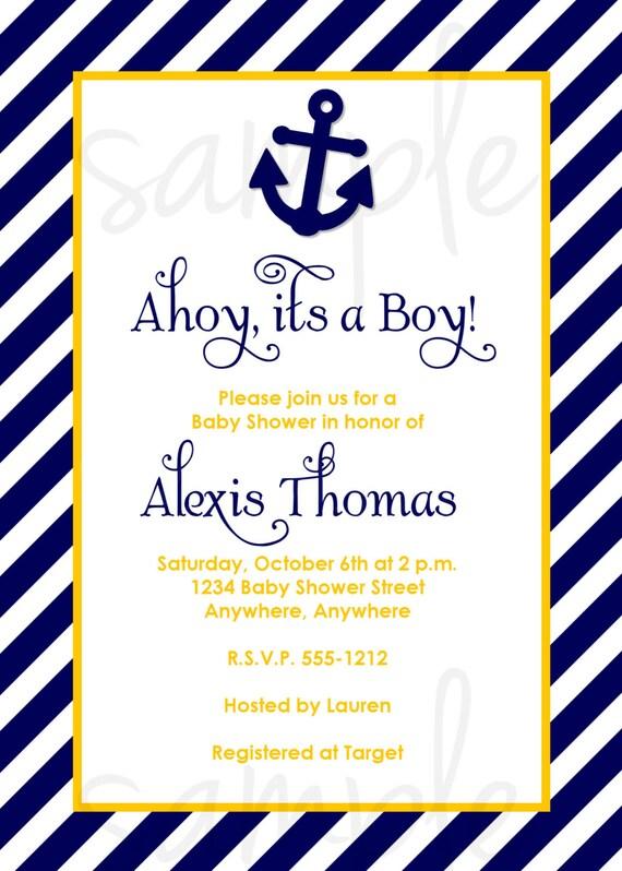 Ahoy Itu0027s A Boy Baby Shower Invitation CHOOSE COLORS