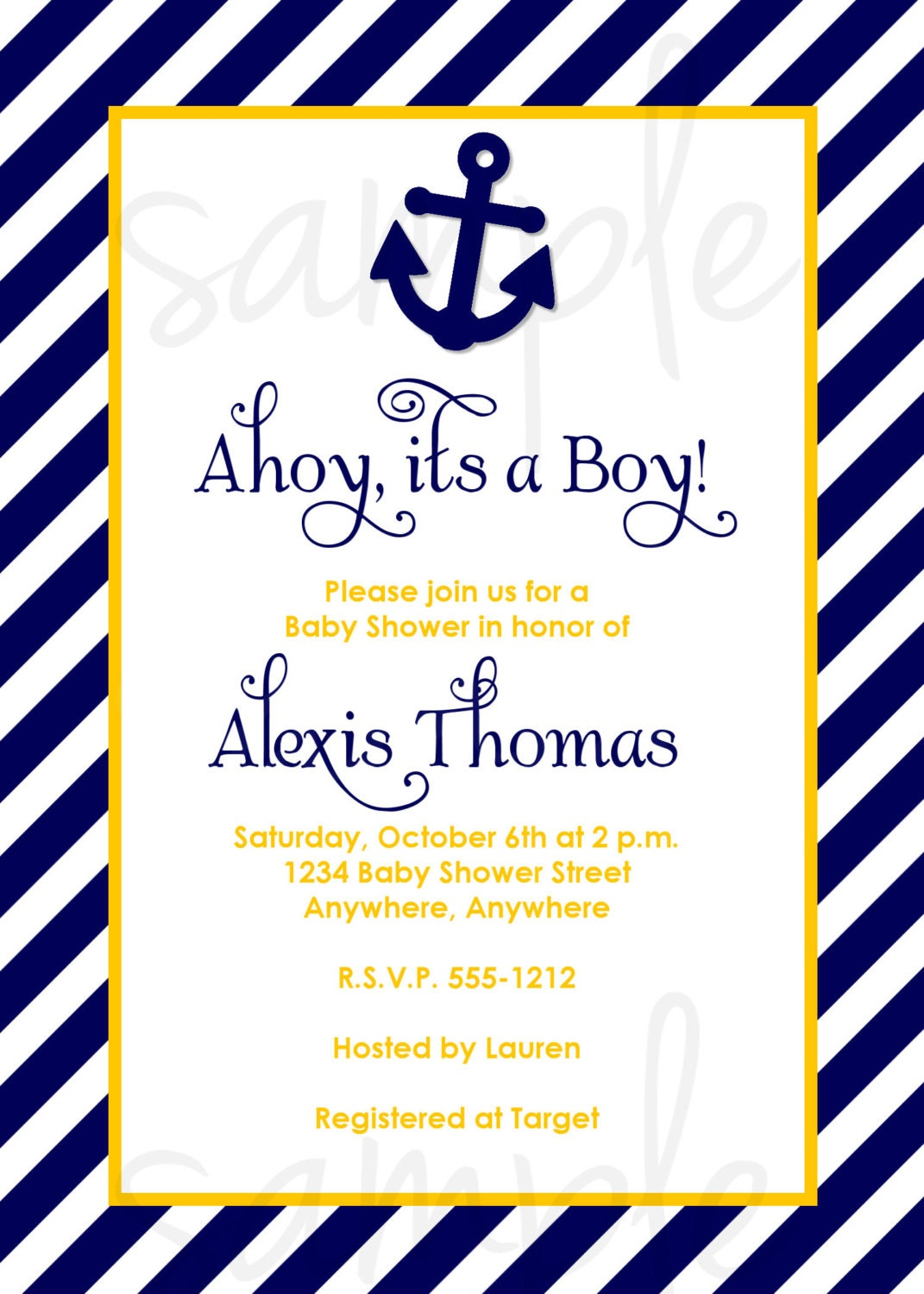Ahoy It S A Boy Baby Shower Invitation Choose Colors