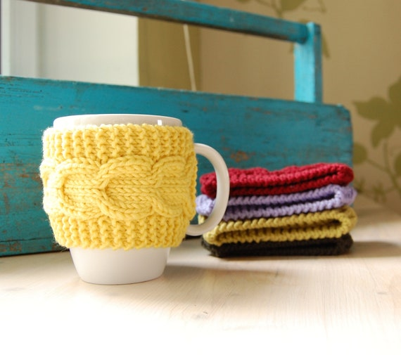 Coffee cup cozy hand knit with cable pattern mug by wooolmint