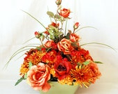 Orange and Red Roses and Mums-Silk Floral Centerpiece