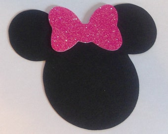 "10 5"" Minnie Mouse Head Silhouettes card stock  Cutouts with GLITTER Bows  Die Cut  Scrapbooking"