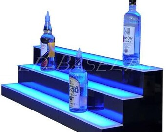 "24"" Led Liquor Bottle Shelf Lighted display for bottle 3 step"