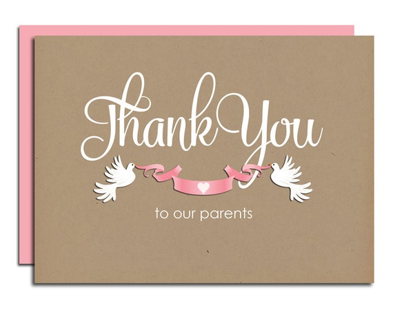 Thank Letter To Parents For Wedding: Thank You Parents Wedding Day Thank You Card