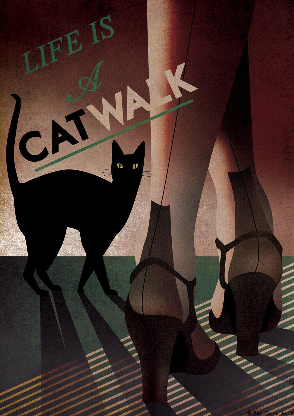 art deco bauhaus a3 poster print vintage 1930 39 s cat. Black Bedroom Furniture Sets. Home Design Ideas