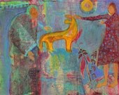 Women and Fox, Under Full Moon. A Spirit Grandmother gifts a young woman with a Fox. Turquoise, orange, pink.  http://www.judithbirdart.com/