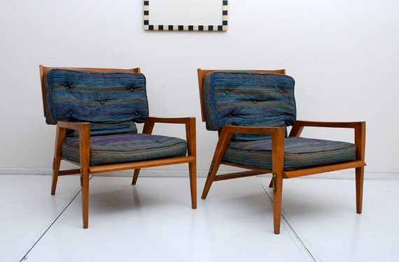 Mid Century Danish Modern Pair Sculptural Lounge Chairs Wood w/ Brass Accents