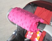 Car Seat ARM PAD Handle Wrap, Arm Pad Cushion, Reversible- Hot Pink Minky, Infant Carrier, Cute Baby Gift, Arm Pad Handle, Girl Arm Pad