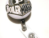 Cute Retractable ID BADGE Reel Holder, Lanyard made with Perdue Boilermakers Fabric