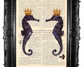 Seahorses - ORIGINAL ARTWORK seahorse print  HAND Painted  Mixed Media  dictionaryprint page book