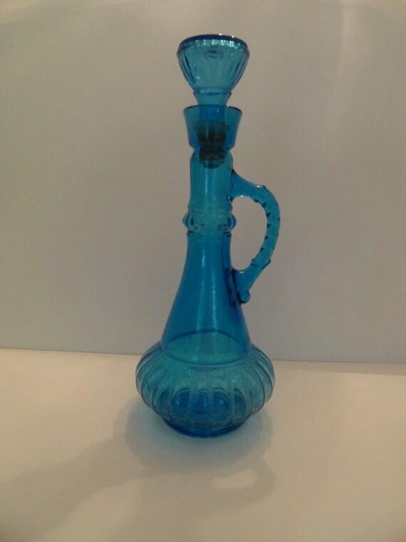 Vintage jim beam blue art glass liquor bottle i dream of for Liquor bottle art