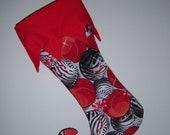 Red zebra print Christmas stocking